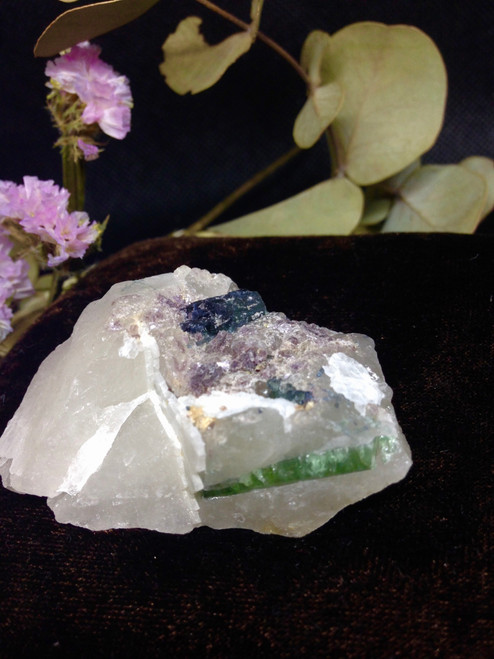 green tourmaline with lepidolite