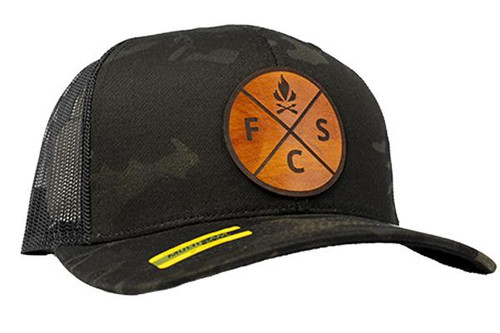 Fieldcraft Survival Leather Patch Hat (Black Multicam)