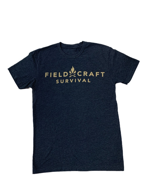 Fieldcraft Survival Logo T-Shirt (Navy and Tan)