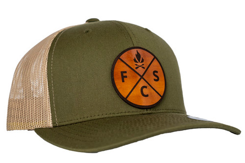 Fieldcraft Survival Leather Patch Hat (Green and Khaki)