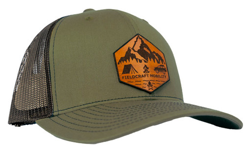 Fieldcraft Survival Mobility Leather Patch Hat (OD Green and Black)