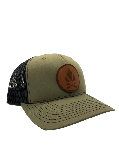Flame and Arrow Leather Patch Hat (OD green and black)