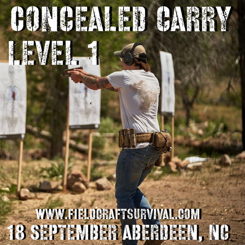 Concealed Carry Level 1: 18 September 2021 (Aberdeen, NC)