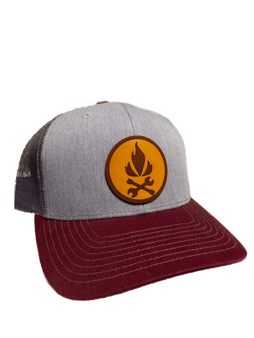 Mobility Flame and Arrow Leather Patch Hat (Maroon/Grey)