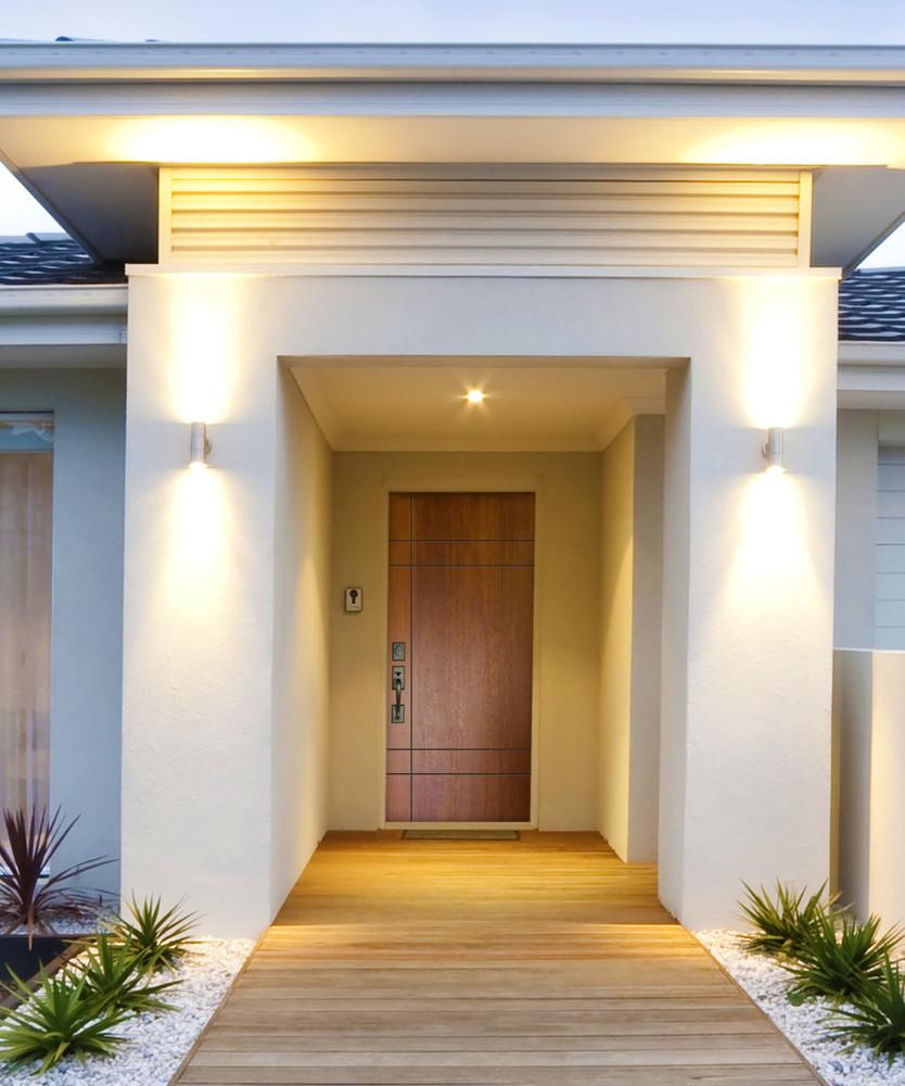 Inglewood Mahogany Contemporary Front Entry Door