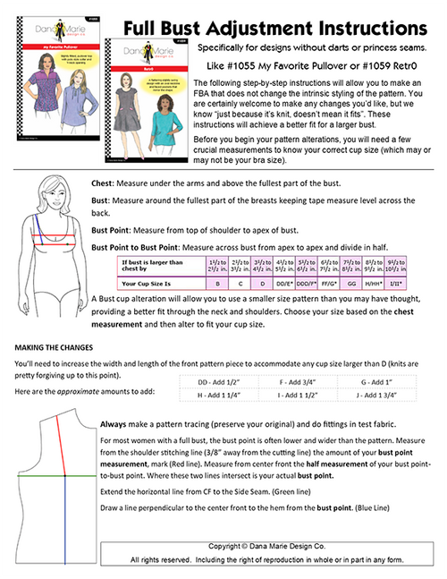 Full Bust Adjustment PDF for Designs with NO darts or princess seams.