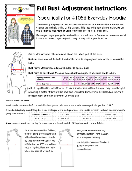 Full Bust Adjustment PDF for Princess Seam Designs