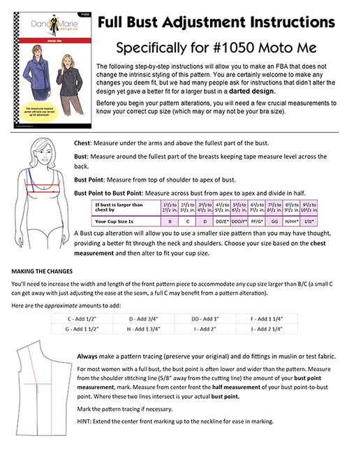 Full Bust Adjustment PDF for Darted Designs