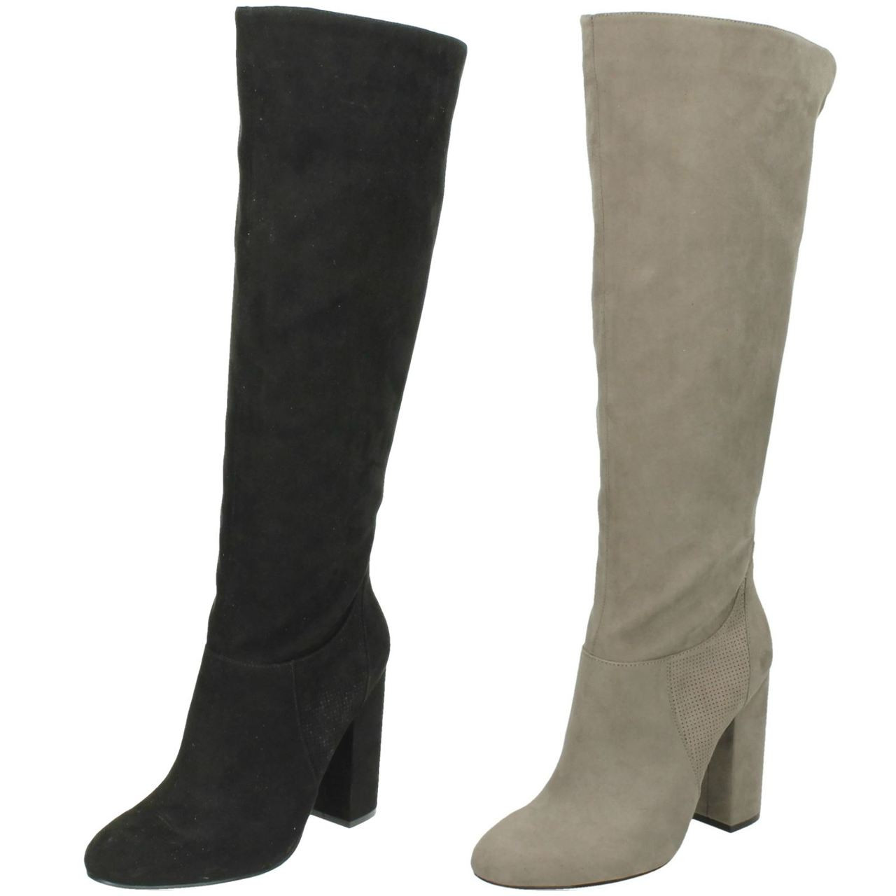 Spot On F50554 Ladies Grey Microfibre Knee High Long Boots