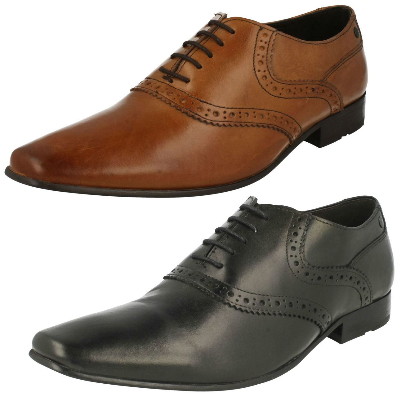 Base London Walnut Black Lace Up Brogues Leather Mens Formal Work Shoes