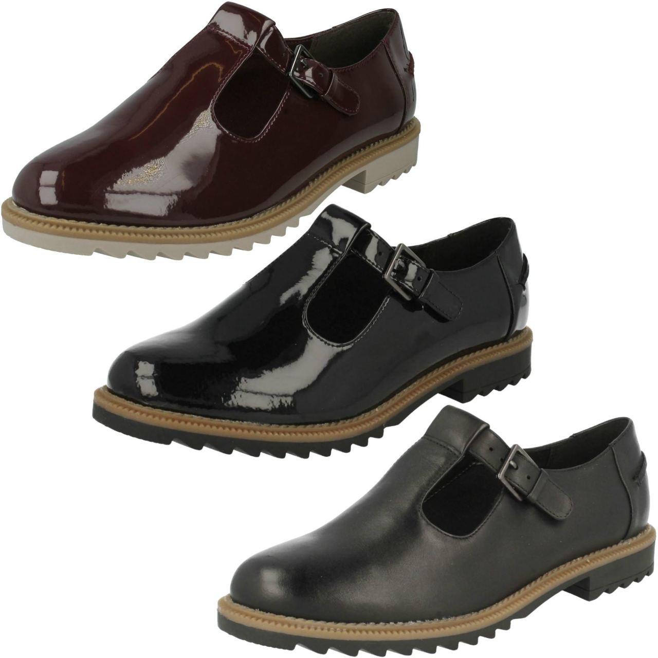 Ladies Clarks T-Bar Buckle Flat Shoes