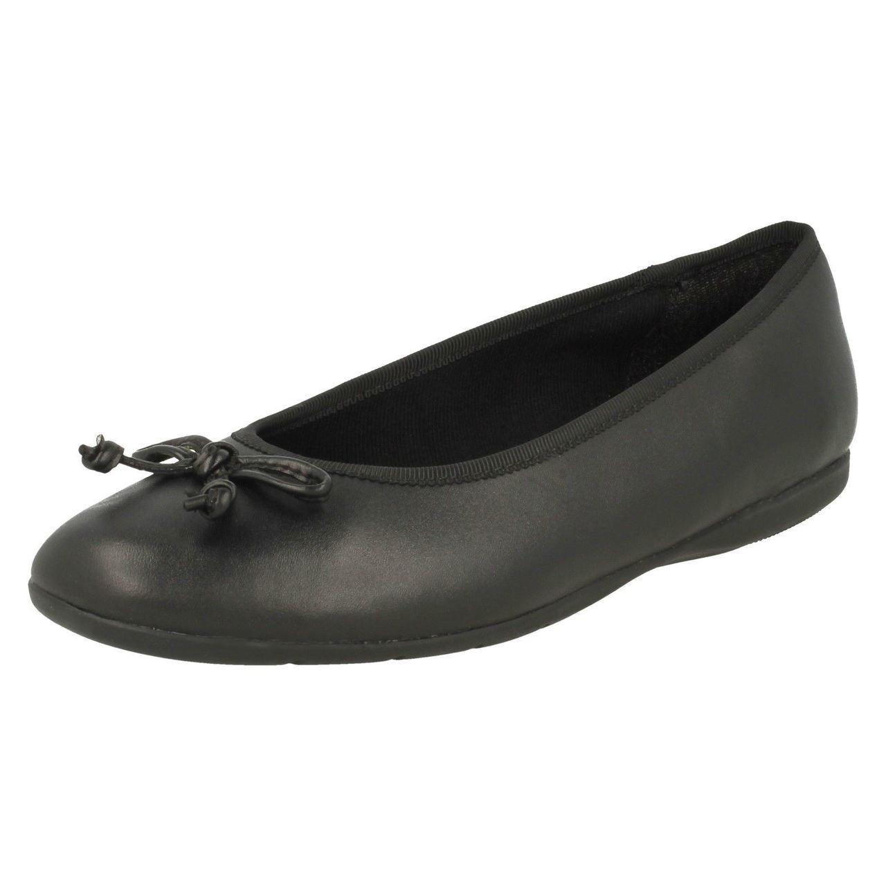 Girls Clarks Slip On Bow School Shoes