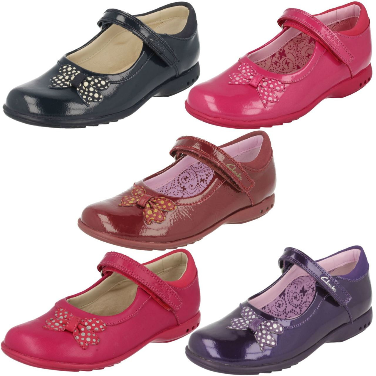 Clarks Girls Trixi Wish Inf Metallic Leather Smart Shoes With Flashing Lights