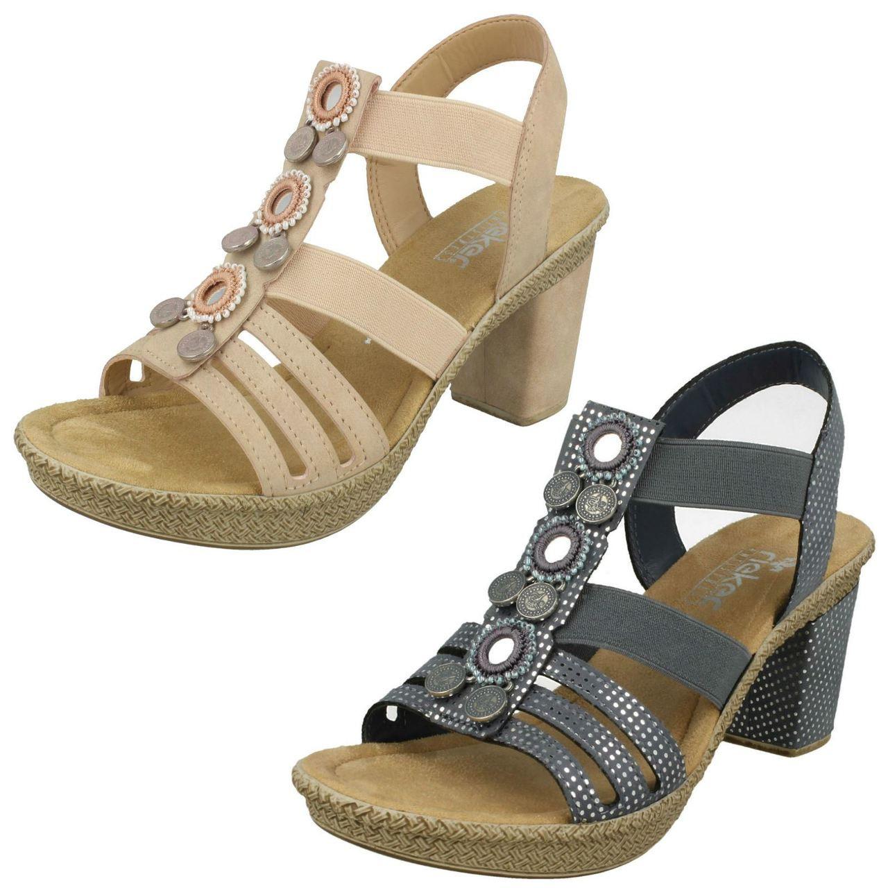 Ladies Rieker Slingback Heeled Sandals 66527