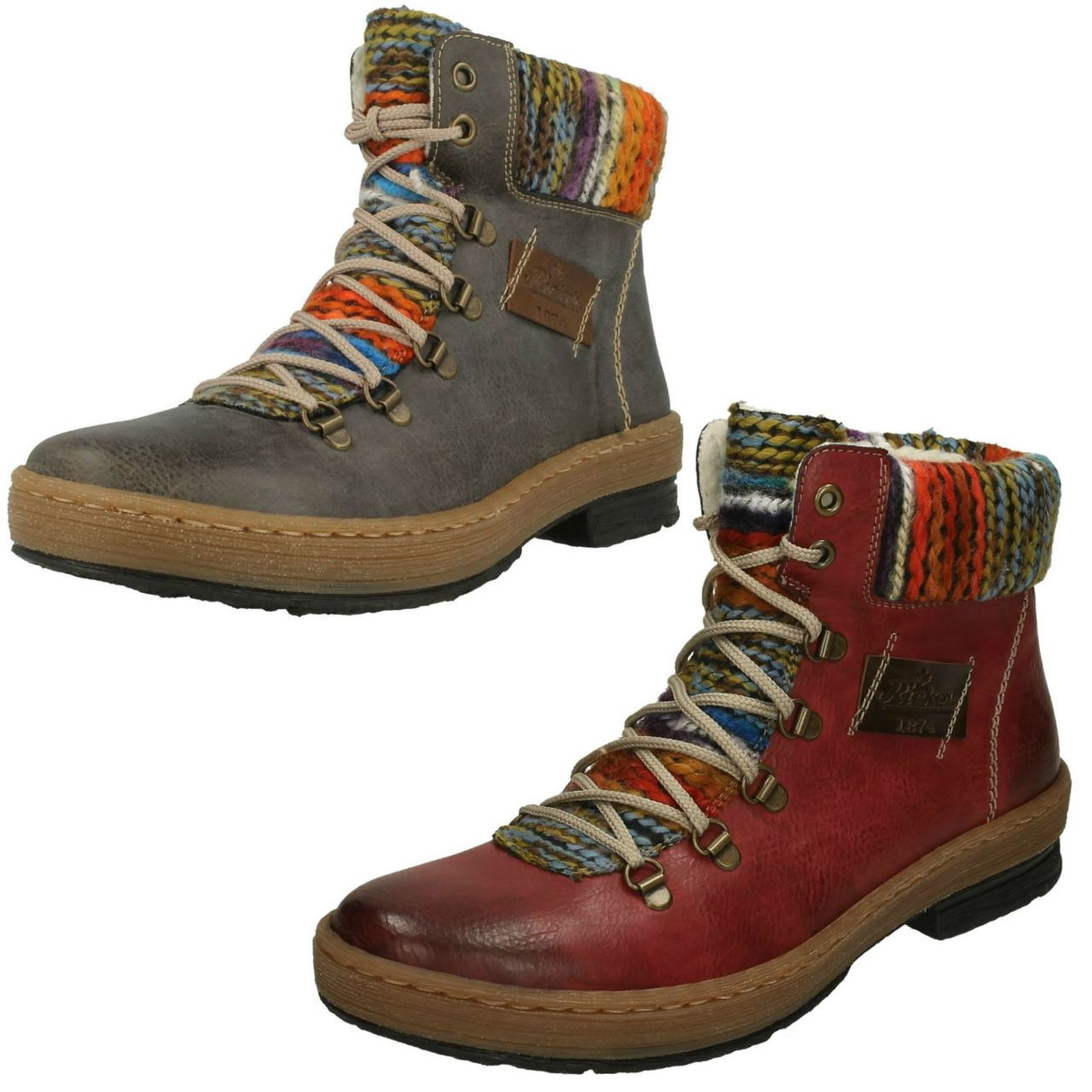 RIEKER Rieker Gray Multi Colored Ankle Boots   Womens Boots