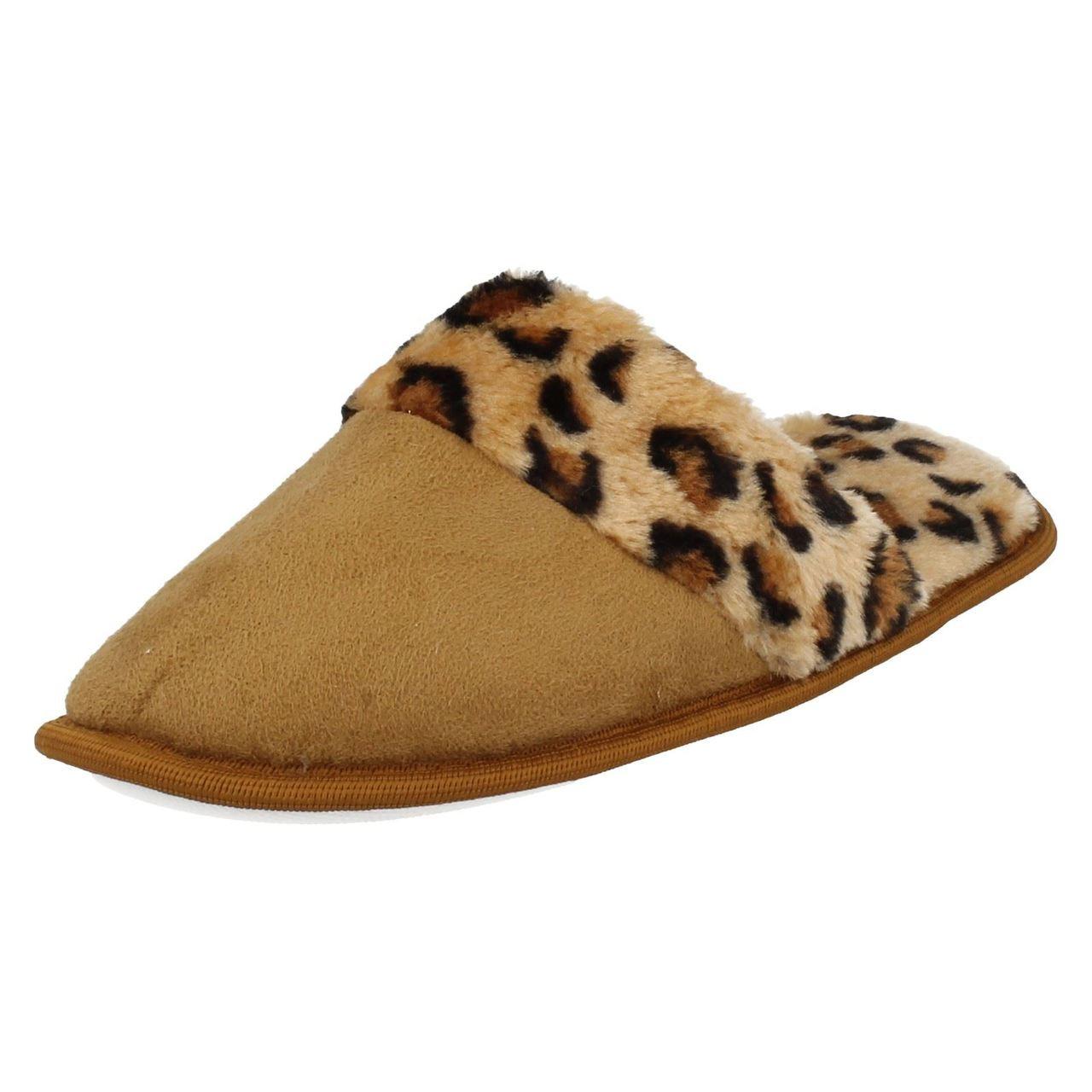 Ladies Spot On Leopard Print Mule Slippers