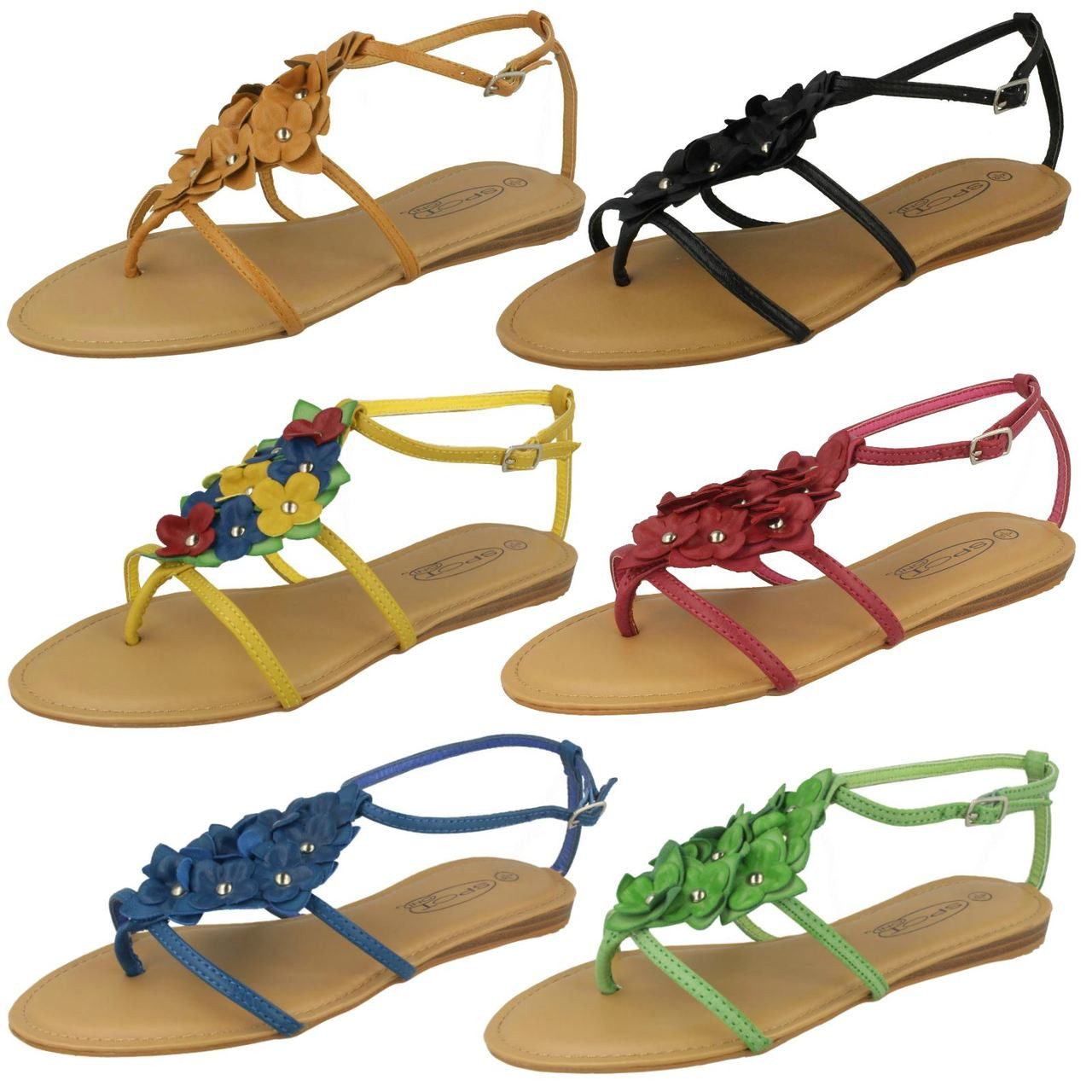 Ladies Spot On Toe Post Sandals