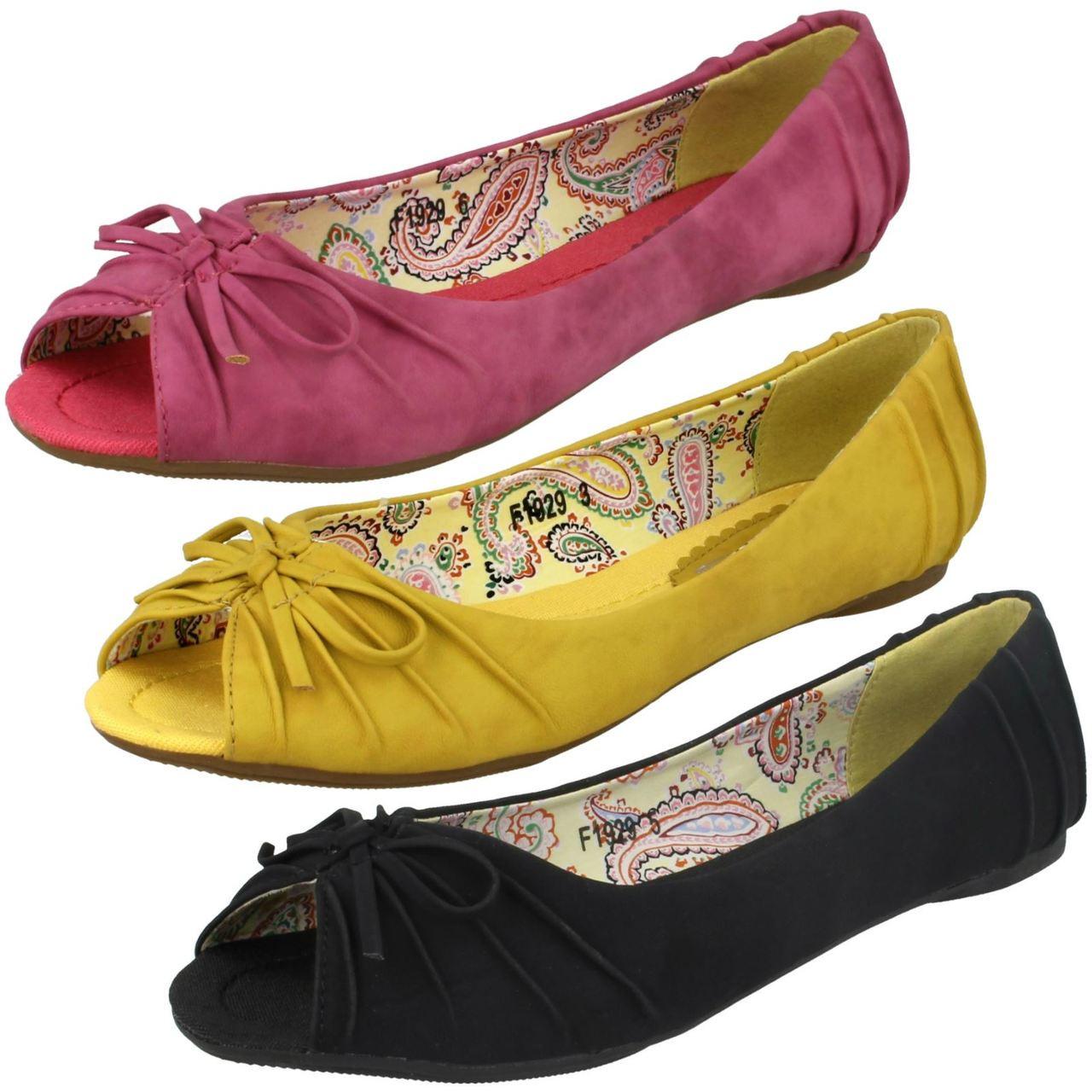 Ladies Spot On Slip On Ballerina Shoes
