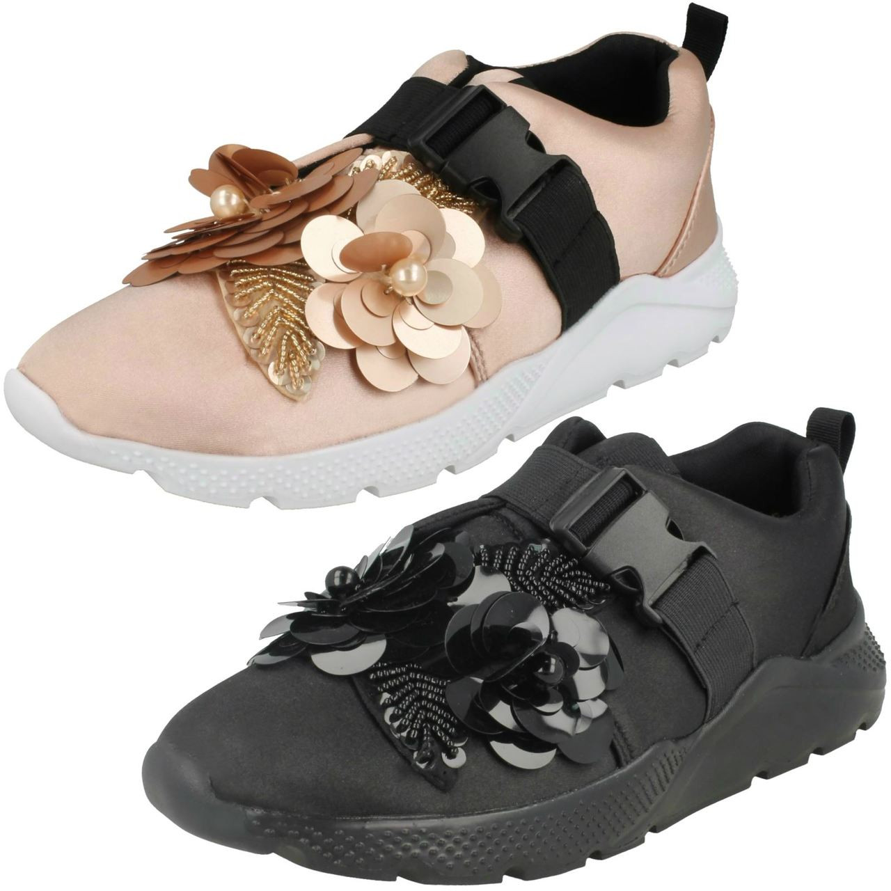 Ladies Spot On Flower Trim Trainers