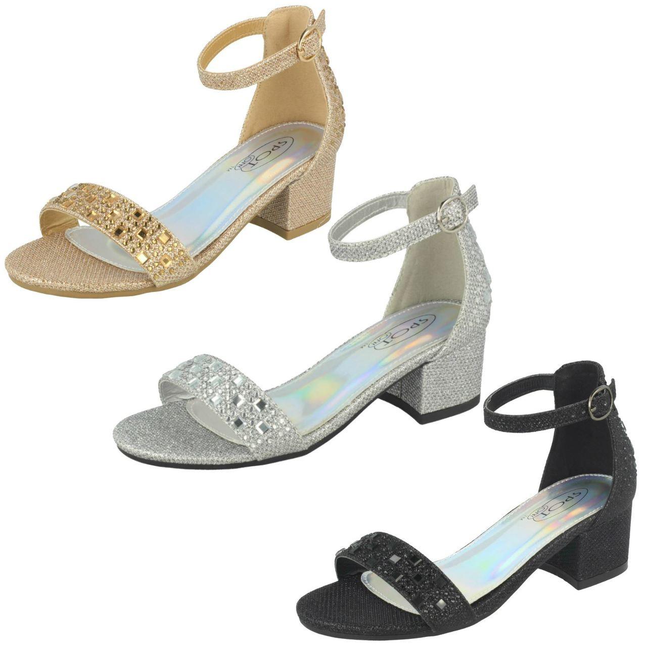 Girls Spot On Mid Heel Glitter Sandals
