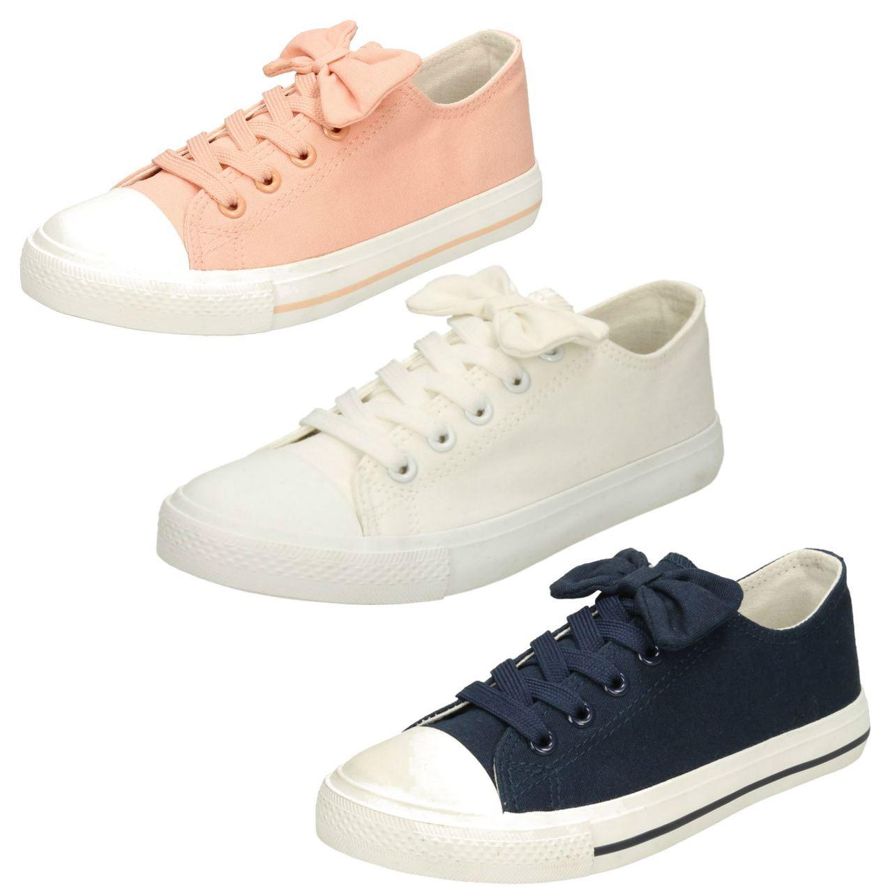 Ladies Spot On Lace Up Canvas Shoes