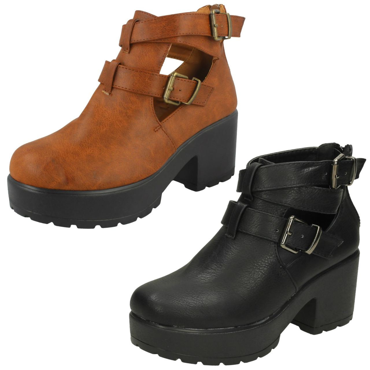 Girls Spot On Chunky Sole Heeled Shoes *H3038*