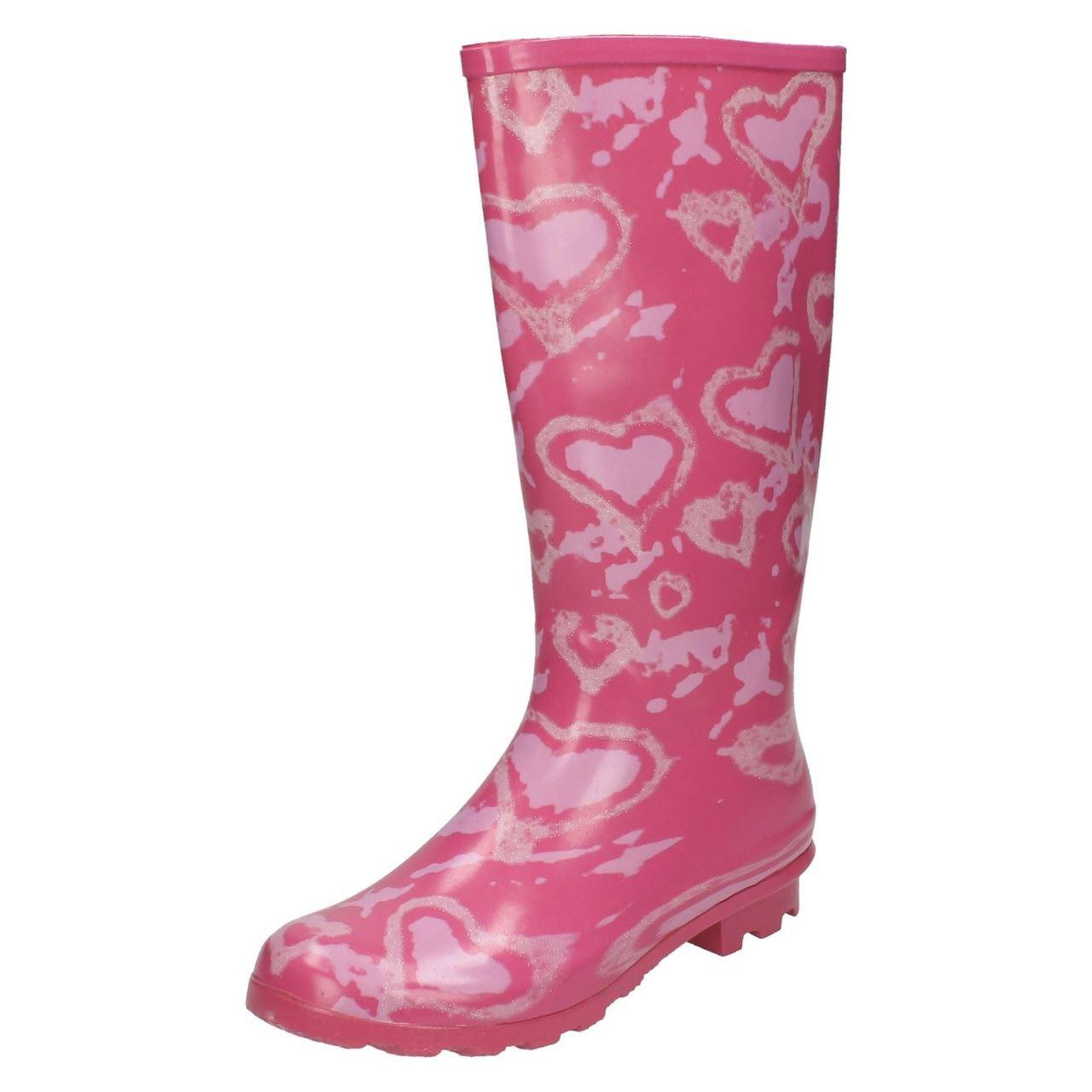 X1147 Ladies Spoton Multi Coloured Heart Design Rubber Wellington Boots!
