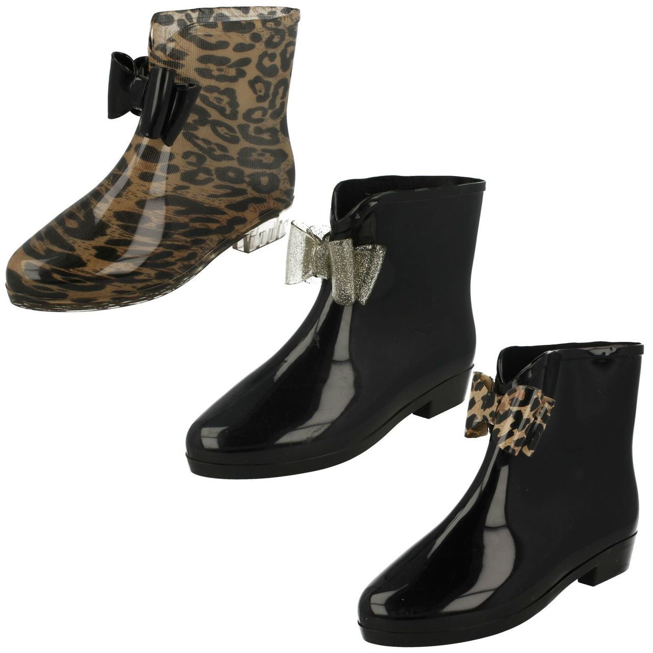 Ladies Spot On Bow Detailed Ankle Wellingtons