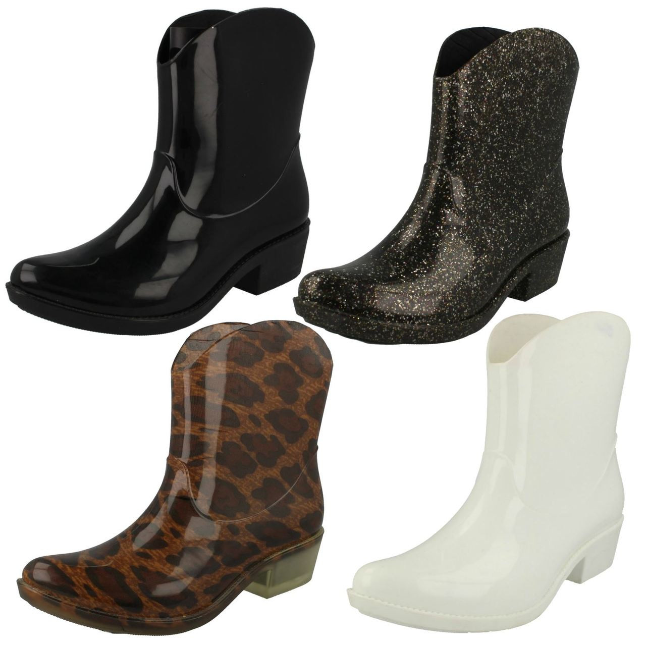 Ladies Spot On Cowgirl Ankle Wellington Boots