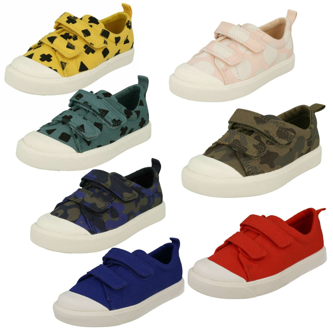 Childrens Boys Girls Clarks Hook /& Loop Patterned Canvas Shoes /'City Flare Lo K/'