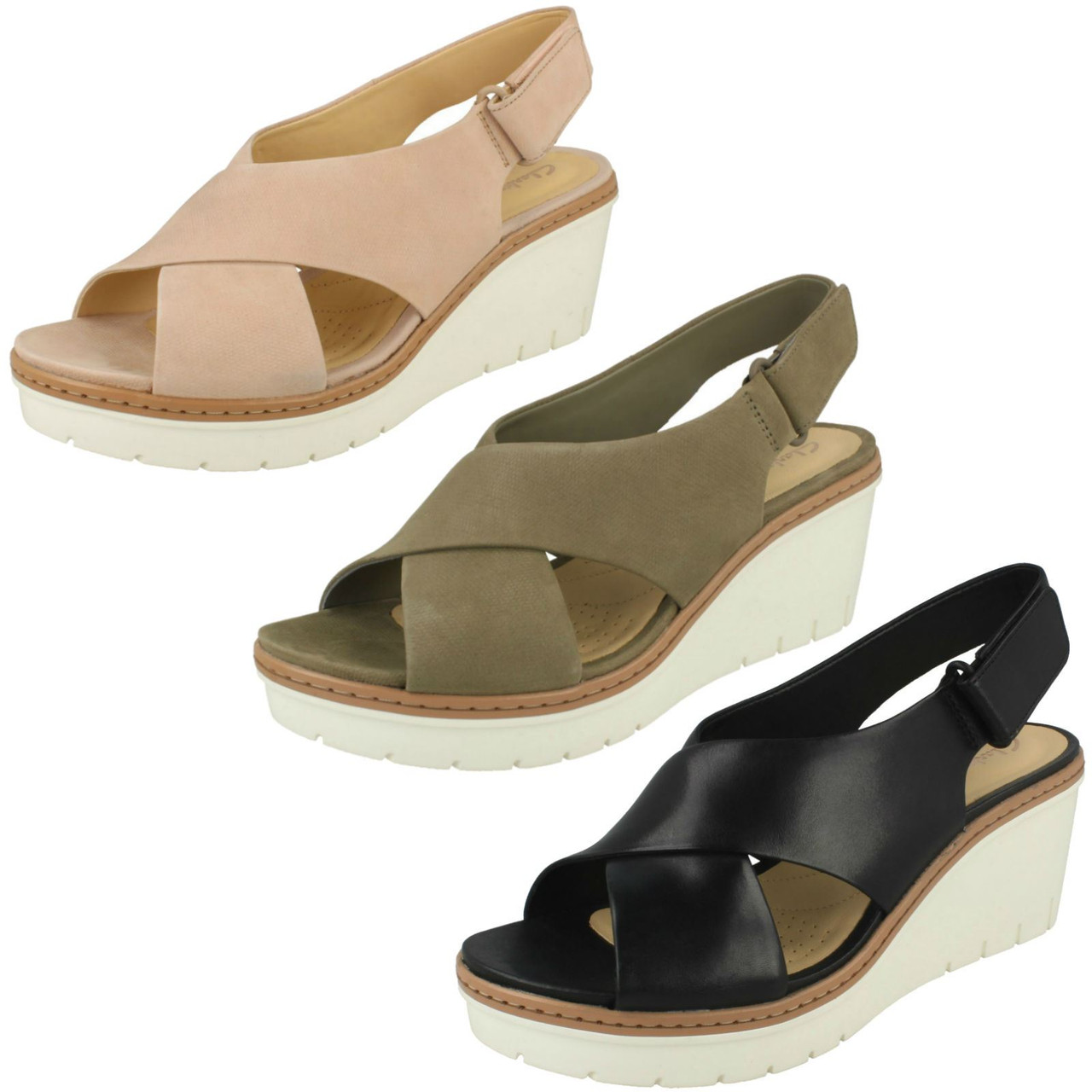 Ladies Clarks Slingback Wedge Heel Sandals Palm Candid