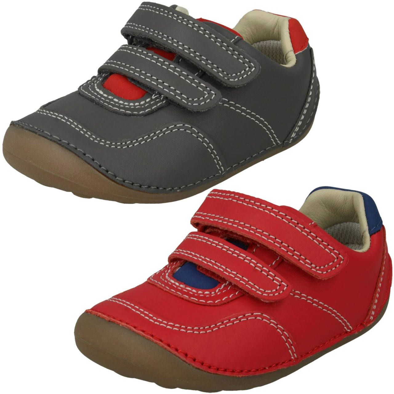 BOYS CLARKS RU ROCKS HOOK /& LOOP INFANT LEATHER CASUAL FIRST CRUISER SHOES SIZE