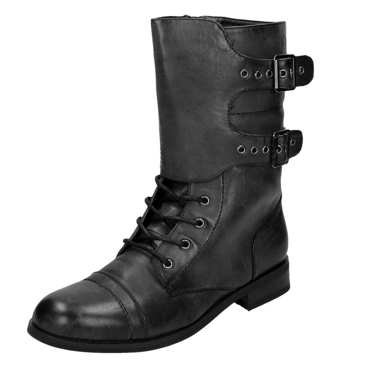 Ladies Coco Mid Heel Calf Lace Up Boots