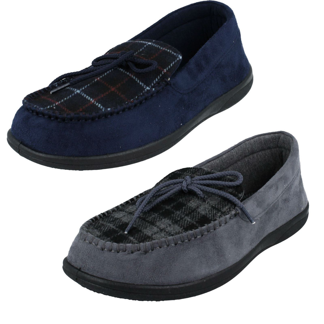 Padders Mens Black Wide Fit Memory Foam Slipper Sizes 6,7,8,9,10,11,12