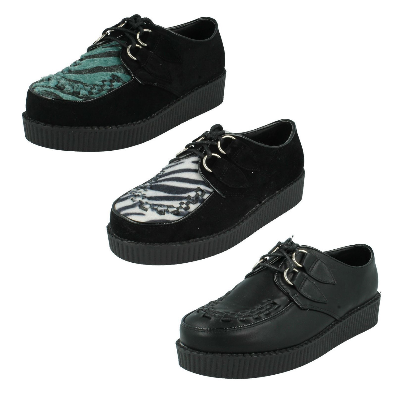 Ladies Spot On Platform Lace Up Shoes