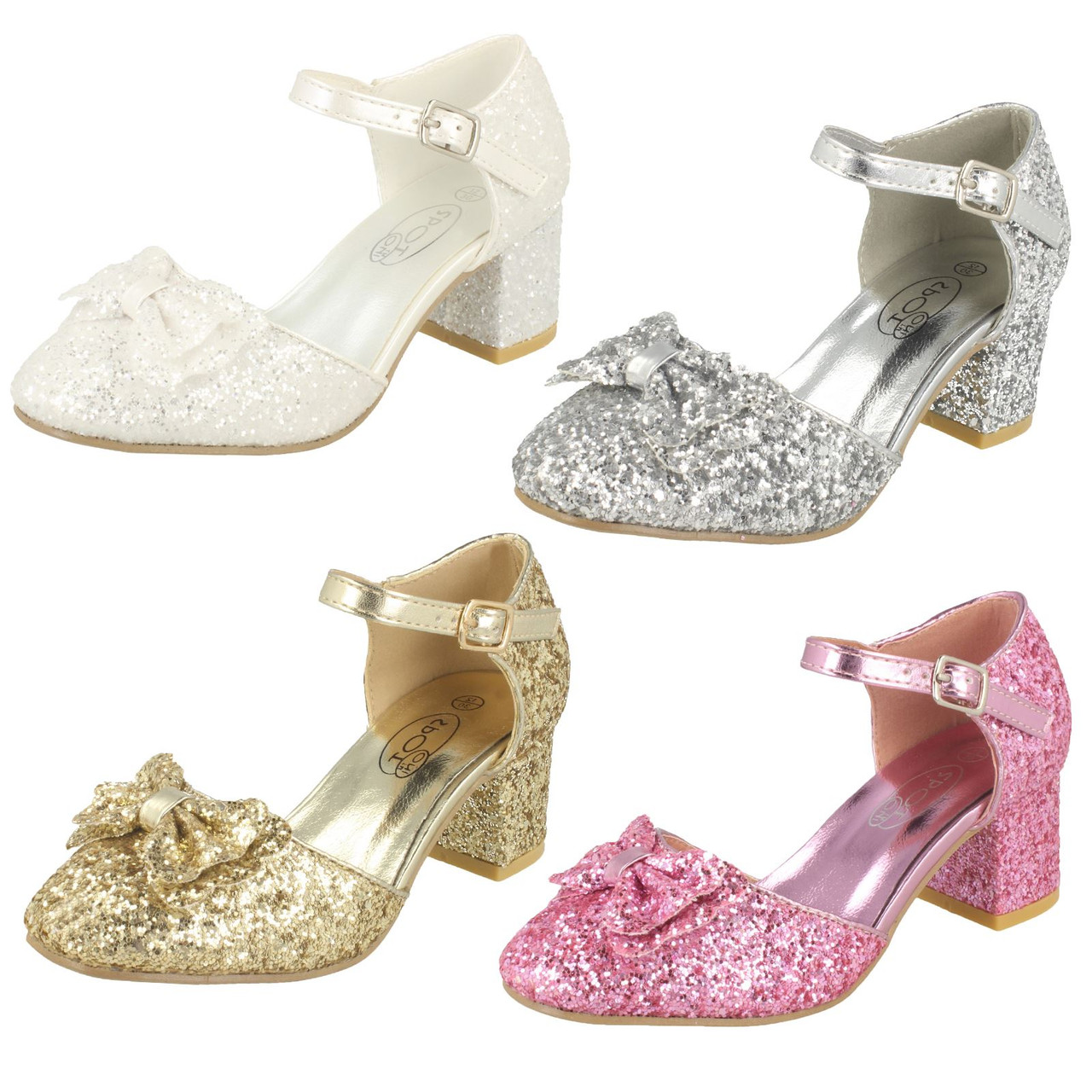 Girls Spot On Glitter Party Shoes H3081