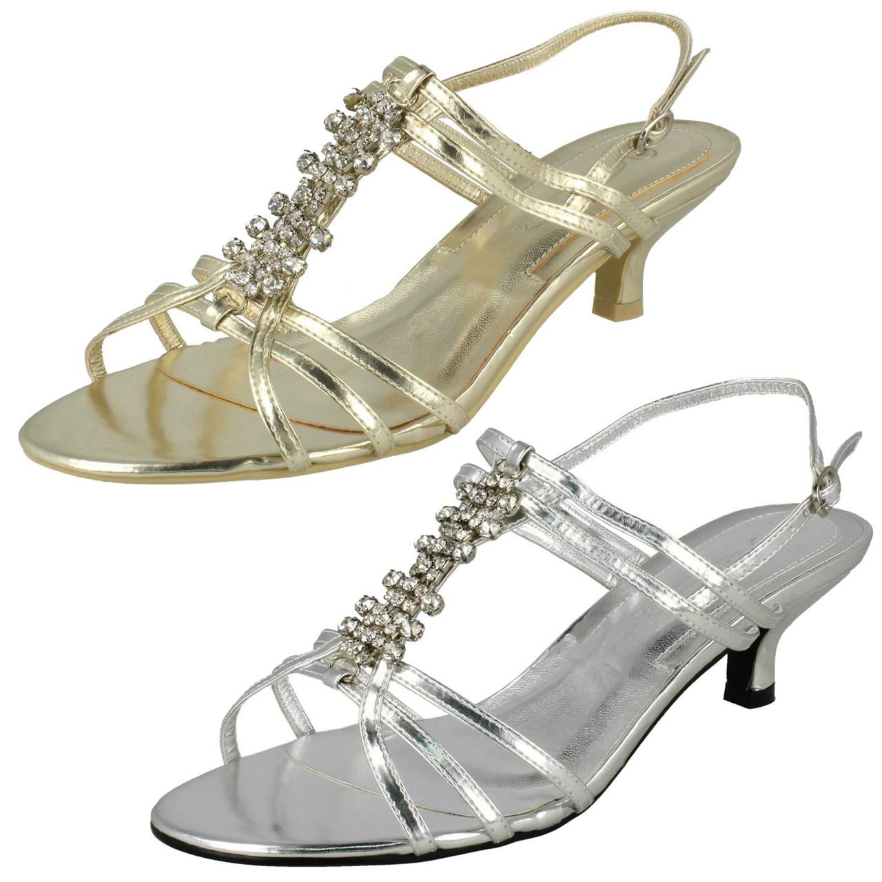 Ladies Spot On Diamante Strappy Heeled /'Sandals/'