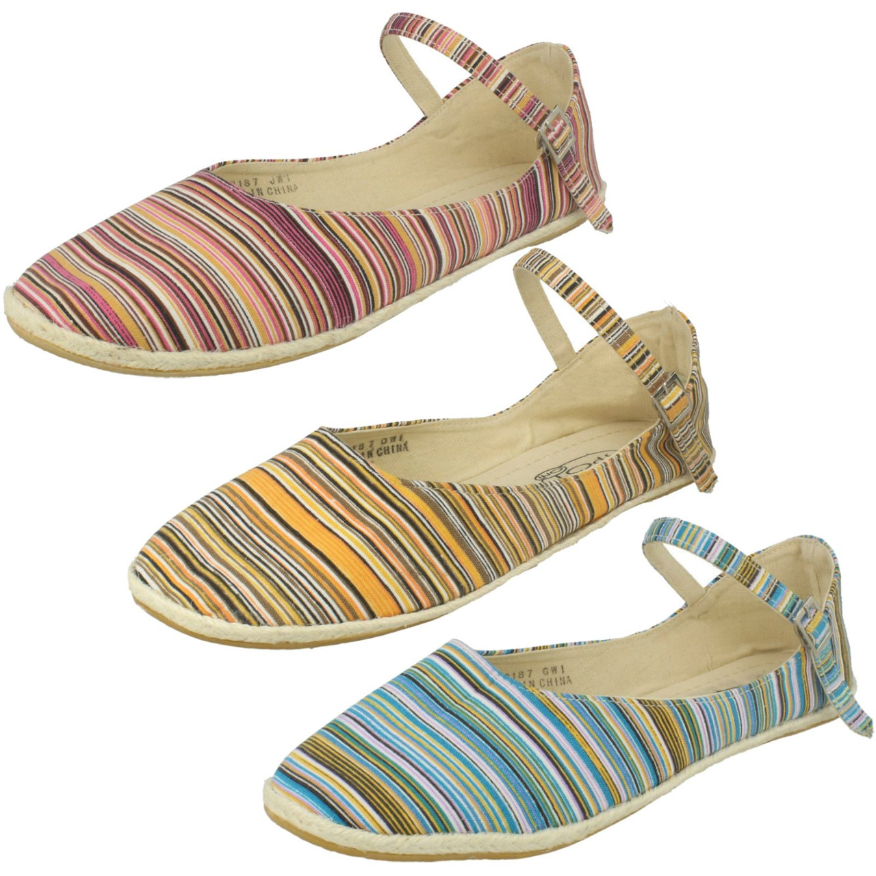 Ladies Spot On Textile Flat Espadrille with Bar Strap