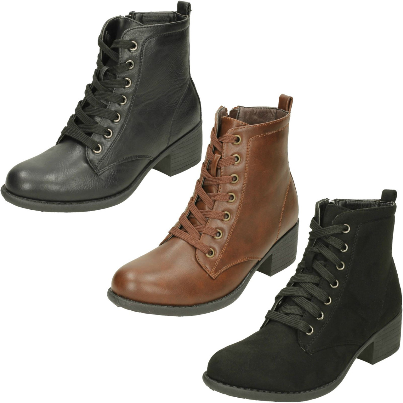 Ladies Spot On Mid Heel Lace Up Ankle Boots