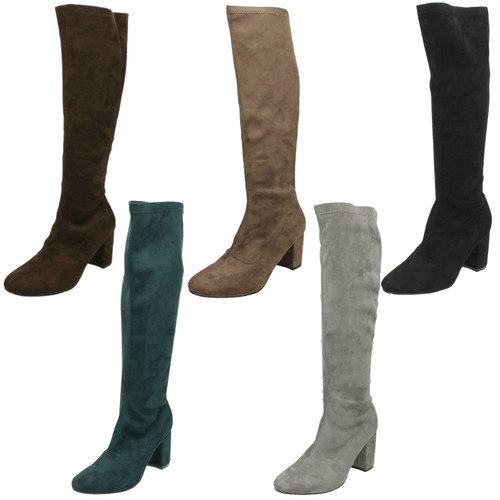 Ladies Anne Michelle Pull On Knee High Boots