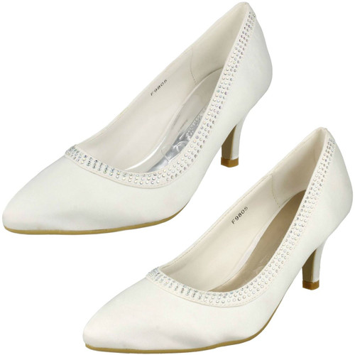 Bronze Anne Michelle Pointed Toe Diamante Wedding Shoes L2280