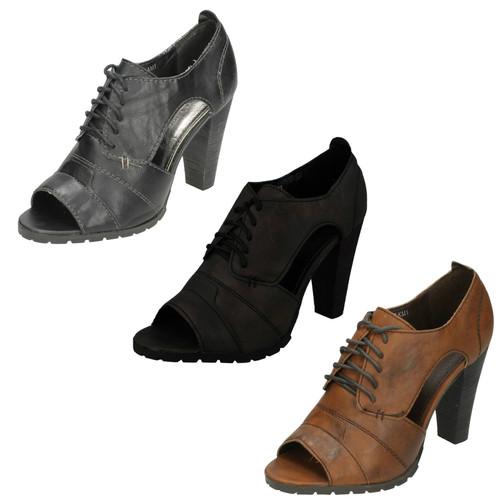 Ladies Barricci Side Cut Out Peep Toe Heels