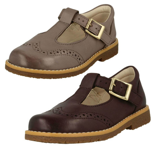 INFANT GIRLS CLARKS PINK LEATHER RIPTAPE STRAP CASUAL FLAT