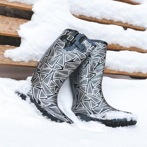 Ladies Spot On Triangle Print Wellington Boot