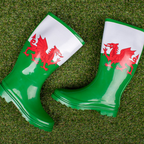 Ladies Spot On Welsh Flag Pattern Wellington Boots