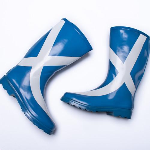 Ladies Spot On Scottish Flag Design Wellington Boots