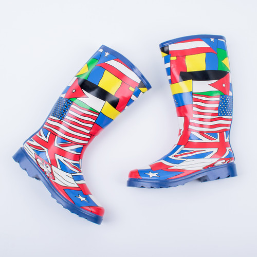 Ladies Spot On World Flag Design Wellington Boots