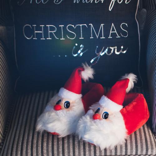 Ladies Spot On Flat Novelty Santa Slippers