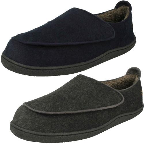 BOYS SLIPPERS Black//Blue//Navy Textile UK10-3 X2032