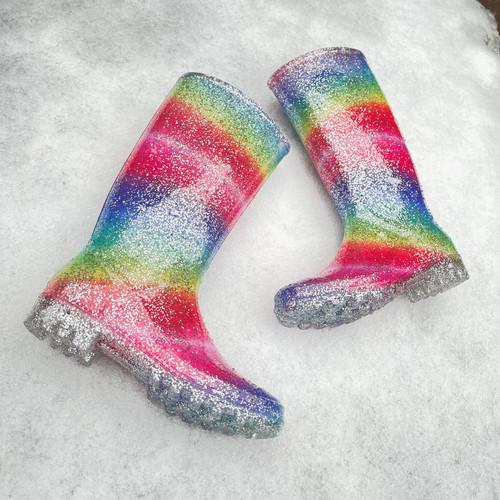 Ladies Spot On Rainbow Glitter Wellingtons X1255